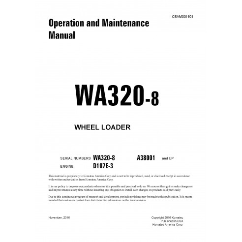 Manual de operação e manutenção da carregadeira de rodas Komatsu WA320-8 - Komatsu manuais