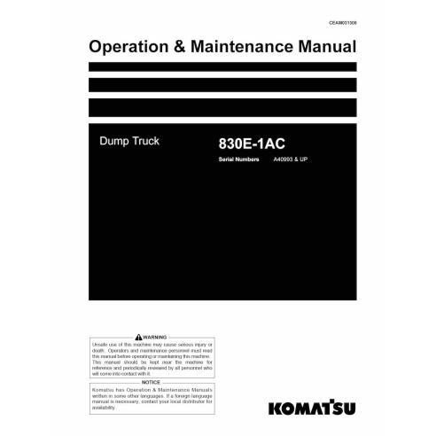 Komatsu 830E-1AC dump truck operation & maintenance manual - Komatsu manuals