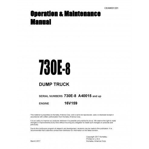 Manuel d'utilisation et d'entretien du camion benne Komatsu 730E-8 - Komatsu manuels