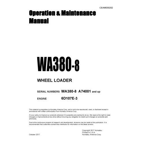Manuel d'utilisation et d'entretien de la chargeuse sur pneus Komatsu WA380-8 - Komatsu manuels