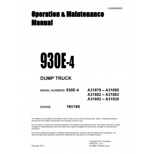 Komatsu dump truck 930E-4 operation & maintenance manual