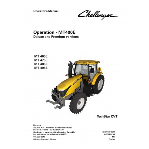 Challenger MT400E tractor operator's manual - Challenger manuals