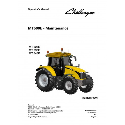 Challenger MT500E tractor operator's manual - Challenger manuals
