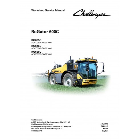 Challenger RoGator RG635C, RG645C, RG655C self-propelled sprayer workshop service manual - Challenger manuals