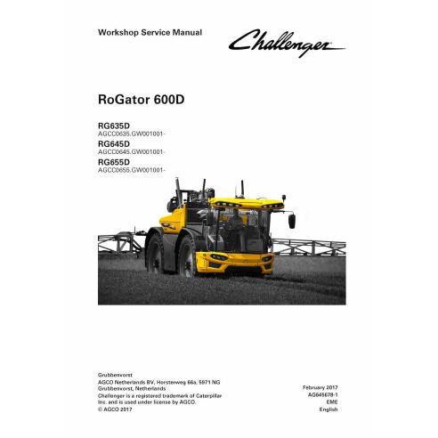 Manuel d'entretien d'atelier de pulvérisateur automoteur Challenger RoGator RG635D, RG645D, RG655D - Challenger manuels