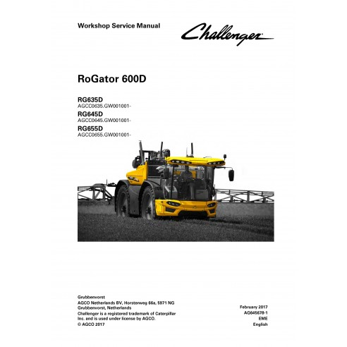 Challenger RoGator RG635D, RG645D, RG655D self-propelled sprayer workshop service manual