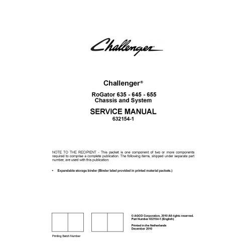 Manuel d'entretien du pulvérisateur automoteur Challenger RoGator RG635, RG645, RG655 - Challenger manuels