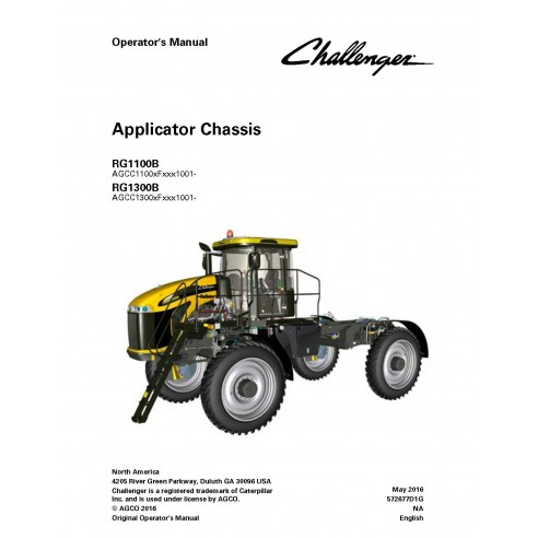 Challenger RG1100B, RG1300B applicator chassis operator's manual - Challenger manuals