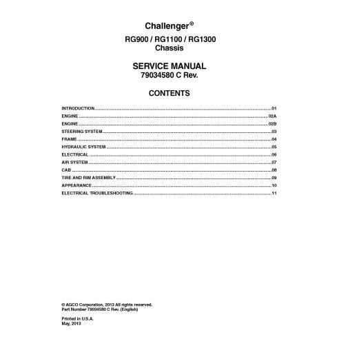 Manual de serviço do chassi do aplicador Challenger RG900, RG1100, RG1300 - Challenger manuais